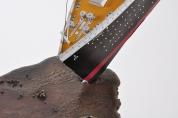 Detail - 'Slick', Bronze and 1:200 card model 'Titanic', 170W x 180H x 60D CM.