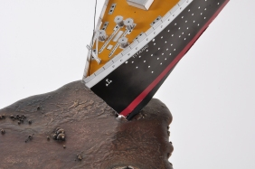 Detail - 'Slick', Bronze and 1:200 card model 'Titanic', 170W x 180H x 60D CM.