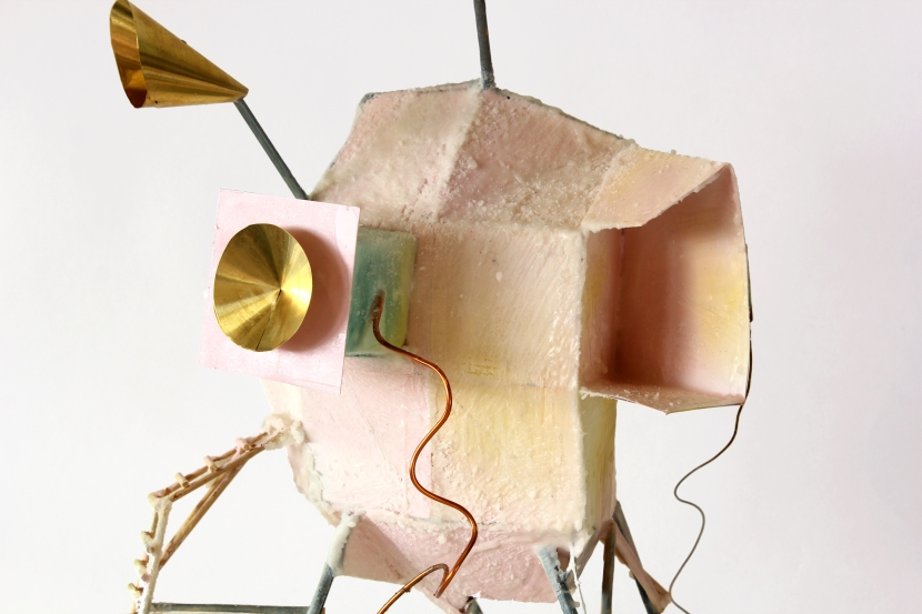 Detail of 'Lunar Lander', Wax, card, bronze and brass, 2014