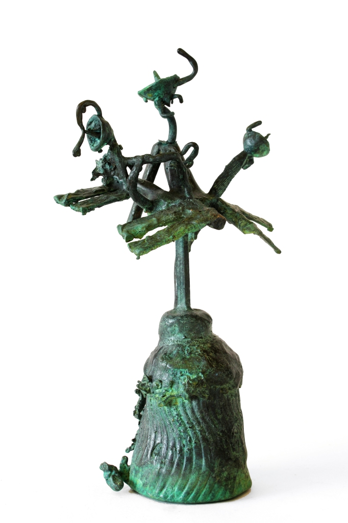 International Space Station (Tioangong) Patinated verdigris bronze 22W X 34H X 18D CM, 2014