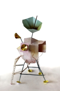 'Lunar Lander', Wax, card, bronze and brass, 2014