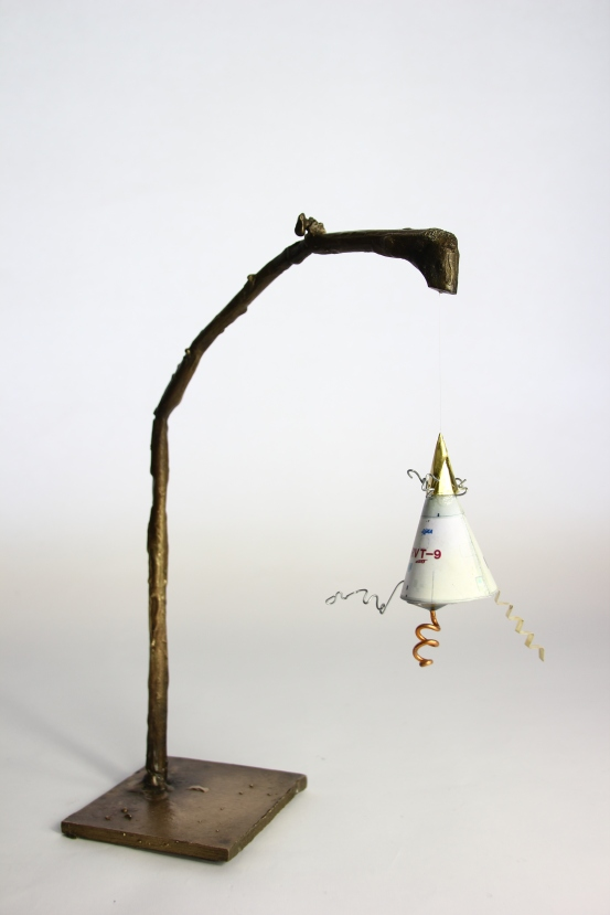 'Suspension', Bronze, card, wire, and copper, 2015
