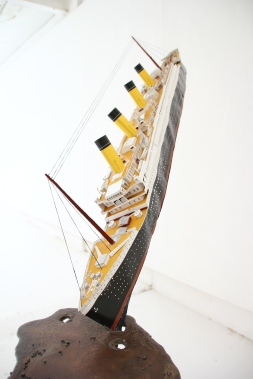 'Slick', Bronze and 1:200 card model 'Titanic', 170W x 180H x 60D CM