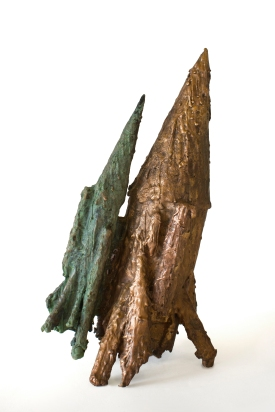 Two Projectiles, Patinated bronze, 2014