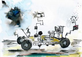 """''Vroom!"""", Ink, watercolour and silver, 10 X 15CM, 2015"""