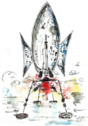 Rocket, Watercolour and ink on paper, 2015