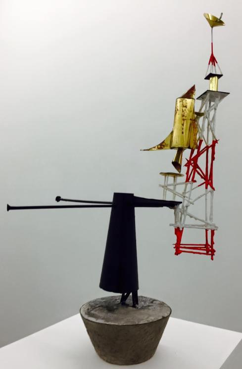 Quatermass, Plaster, Silver leaf, cocktail sticks, brass, 2015