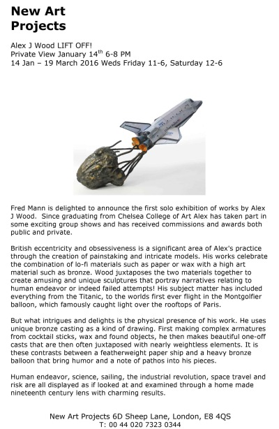 Lift Off! Solo Show at New Art Projects Press Release