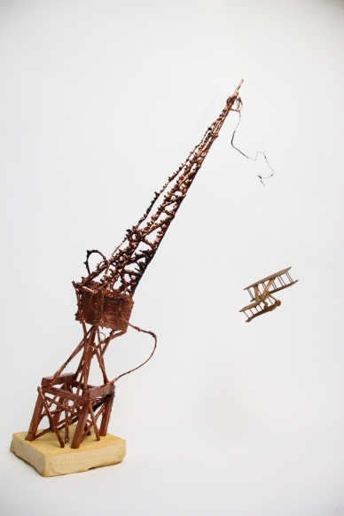 'That plane's dustin crops where there ain't no crops! (North by Northwest)', Wood, wax, wire, balsa wood, lead and denta-stone, 2015