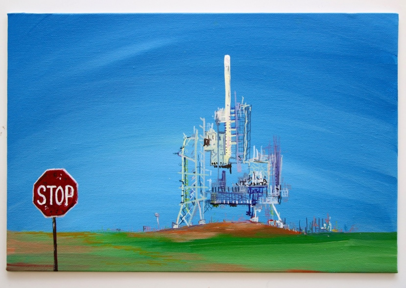 'STOP - Launchpad 39B', Acrylic on canvas, 20 x 30CM, 2017