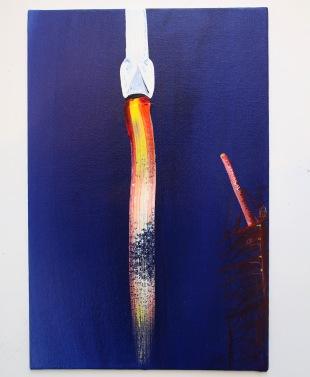Saturn V, Acrylic on canvas, 20 x 30cm, 2017.