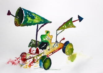 Luna Buggy,, Watercolour and ink on paper, 2015