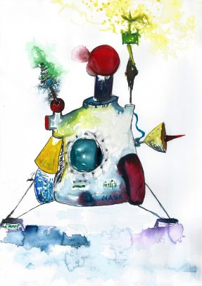 CCCP Droid, Watercolour and ink on paper, 2015