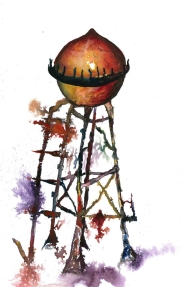 The Tower, Watercolour and ink on paper, 2015