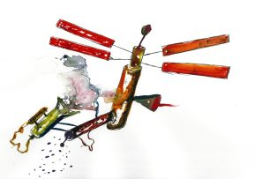 High Flyer, Watercolour and ink on paper, 2015