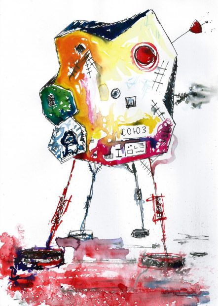 Soyuz, Watercolour and ink on paper, 2015