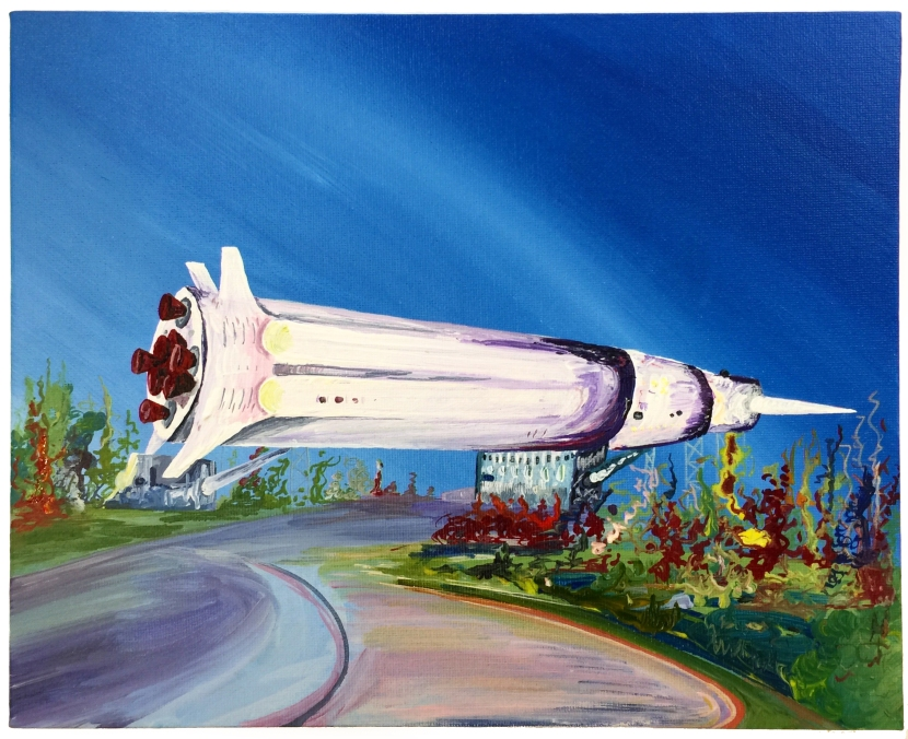 'The Big Rocket', acrylic on canvas, 24 x 30cm, 2017